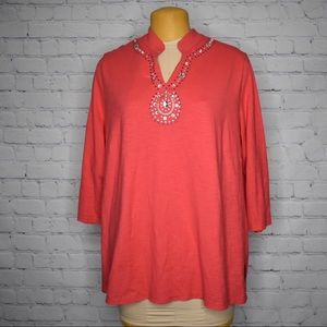 Allison Daley Business Casual V-Neck Beaded Blouse